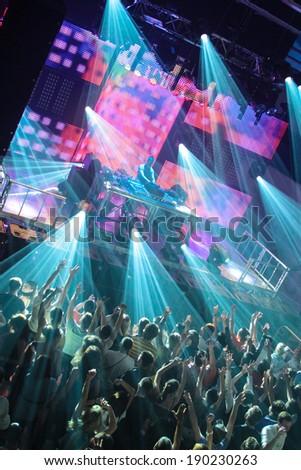 MINSK, BELARUS - April 16, 2011: Festival crowd at Urban Wave fistival on April 16, 2011 in Minsk, Belarus - stock photo