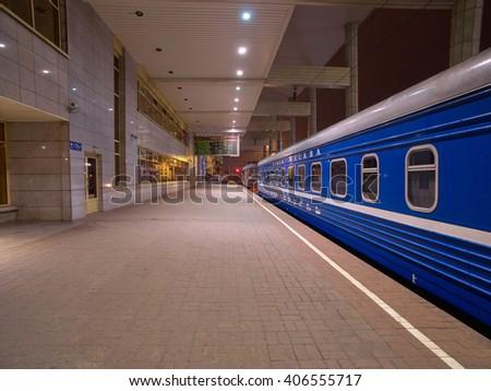 MINSK, BELARUS - 08 APRIL 2016: Night Train Minsk-Moscow on a Platform of Minsk Station, Capital of Belarus - stock photo