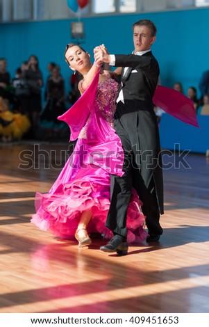 Minsk, Belarus-??April 3, 2016: Unidentified Dance Couple Performs Youth-2 Standard Program on the IDSA Championship Kinezis Star Cup -2016 in April 3, 2016 in Minsk, Republic of Belarus - stock photo