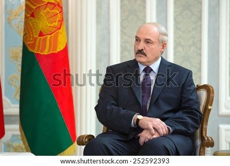 MINSK, BELARUS - Feb 11, 2015: President of Belarus Alexander Lukashenko during a meeting with Ukrainian President Poroshenko before the negotiations of leaders of states in Normandy format in Minsk - stock photo