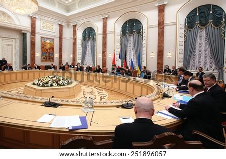 MINSK, BELARUS - Feb 11, 2015: President of Ukraine Petro Poroshenko before talks of the leaders of states in the Norman format in Minsk - stock photo