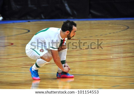 MINSK, BELARUS - MARCH 26: qualification World Cup 2012, Belarus � Portugal: Leader of the Portuguese national team- Ricardinho on March 26, 2012 in Minsk, Belarus - stock photo