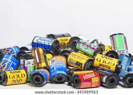 Minsk, Belarus-May 30, 2015: Bulk Variety of Old Photo Films Cassettes of Different World Leading Manufacturers Placed Together against White Background shot in Studio on May 30, 2015 in Minsk,Belarus - stock photo