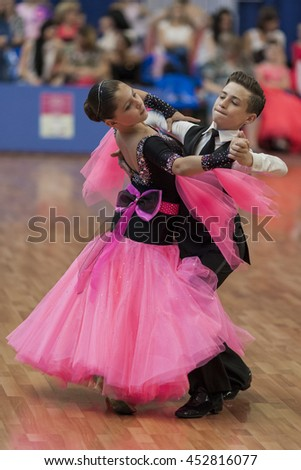 Minsk,Belarus-May 28, 2016: Unidentified Dance Couple Performs Juvenile-1 Standard European Program on National Championship of the Republic of Belarus in May 28, 2016 in Minsk, Republic of Belarus - stock photo