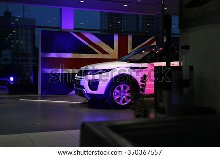 MINSK, BELARUS NOVEMBER 25, 2015: New Range Rover Evouqe at the presentation in Minsk for automotive journalists from Minsk - stock photo