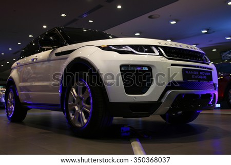 MINSK, BELARUS NOVEMBER 25, 2015: New Range Rover Evouqe at the presentation in Minsk for automotive journalists from Minsk - stock photo