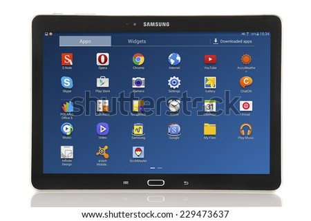 Minsk, Belarus - November 9, 2014: Samsung Galaxy Note 10.1 2014 Edition Jet Black. Tablet PC Isolated on White Background.  - stock photo