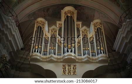 Minsk,?? October 6: Great organ in the cathedral, Cathedral of the Immaculate Conception of the Blessed Virgin Mary, Minsk, Belarus, October 06. 2009. - stock photo