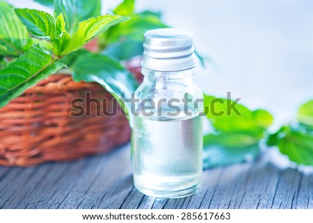 mint aroma oil - stock photo