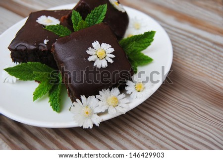 Mint Chocolate Cake whit candy Daysi - stock photo