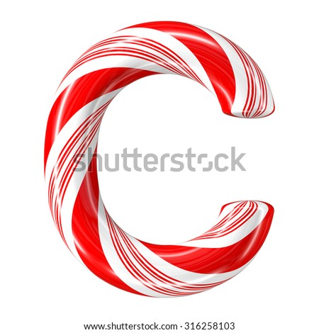 Mint hard candy cane 3d alphabet collection striped in Christmas colours. Letter C. - stock photo