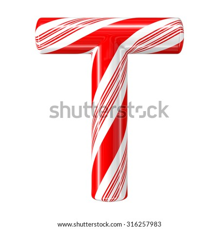 Mint hard candy cane 3d alphabet collection striped in Christmas colours. Letter T. - stock photo