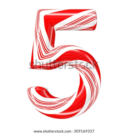 Mint hard candy cane 3d number collection striped in Christmas colours. Figure 5. - stock photo