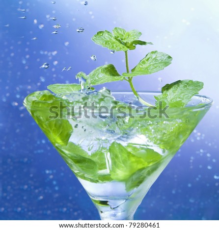Mint in a glass with ice - stock photo