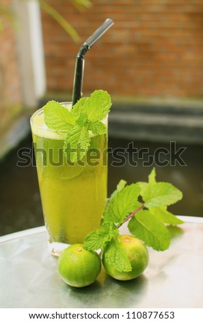 mint smoothie - stock photo