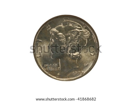 Mint state Mercury dime - stock photo
