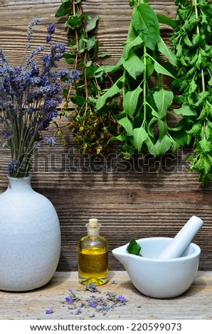 mint tea herbal wood background - stock photo