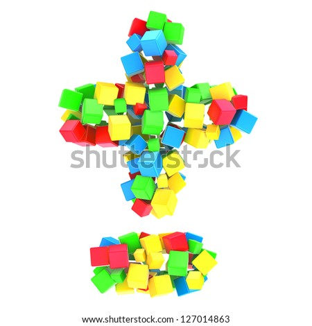 minus and plus of colorful cubes - stock photo
