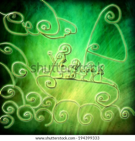Miracle Jesus calms the storm at sea, abstract religion background hand drawn - stock photo