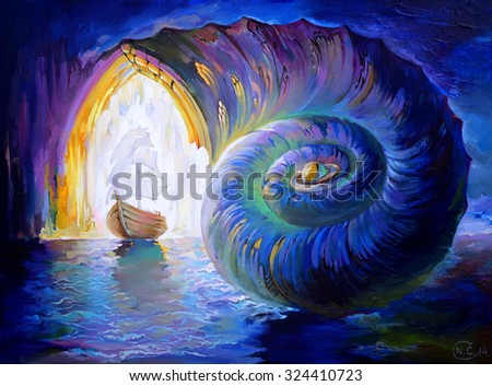 Miracle of evolution way. Oil painting on canvas. - stock photo