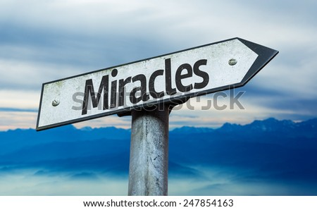 Miracles sign with sky background - stock photo