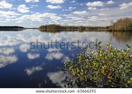 Miraculous autumn's lake view - stock photo
