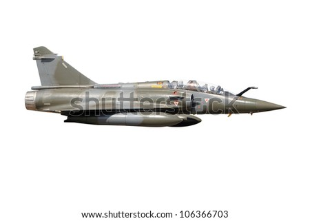 Mirage 2000 military fighter jet plane isolated - stock photo