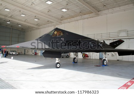 MIRAMAR, CALIFORNIA, USA - OCTOBER 15: USAF F-117 Nighthawk on display on the USMC Miramar Air Show October 15, 2005 in Miramar, California, USA - stock photo