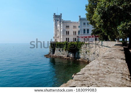 Miramare castle sight from main entrance  in Italy - stock photo