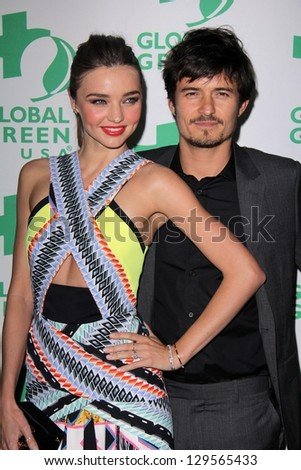 Miranda Kerr, Orlando Bloom at the Global Green USA's 10th Annual Pre-Oscar Party, Avalon, Hollywood, CA 02-20-13 - stock photo