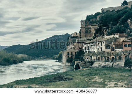 Miravet village and Ebro river. Province of Tarragona. Spain. Miravet is one of the most charming village in Catalonia  - stock photo