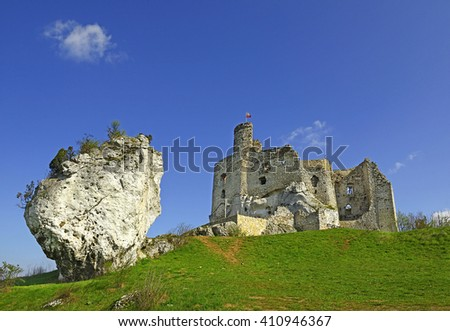 Mirow Castle is a 14th-century castle, now ruined, located in the Mirow village near Krakow, Silesian Voivodeship, Poland. It belongs to castles end fortresses: Eagles' Nests Trail - stock photo