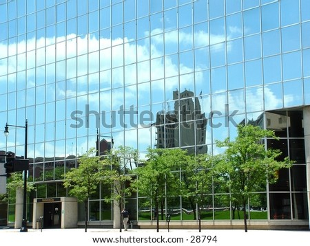 mirror building in downtown Grand Rapids - stock photo