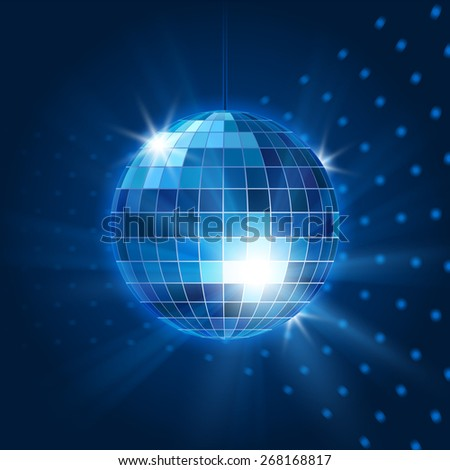 Mirror disco ball. Nightclub object, nightlife and bright and party - stock photo