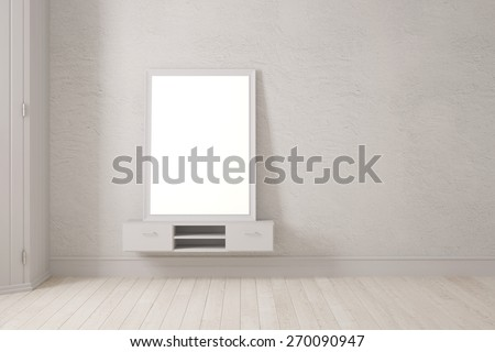 Mirror in picture frame leaning on wall in bedroom (3D Rendering) - stock photo