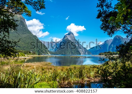 Mirror Lakes along the way to Milford Sound, New Zealand. Mitre Peak in New Zealand at low tide  - stock photo