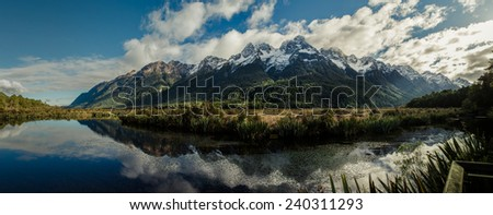 Mirror Lakes, Fiordland, New Zealand - stock photo