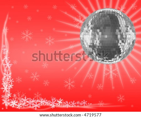 Mirrorball on red - stock photo