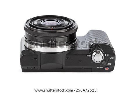 Mirrorless photo camera isolated on white background - stock photo