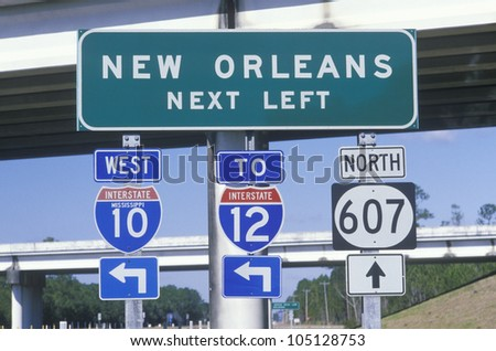 Miscellaneous freeway signs in New Orleans - stock photo
