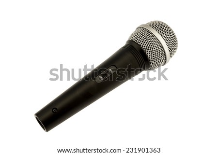 Miscellaneous : microphone on white background - stock photo