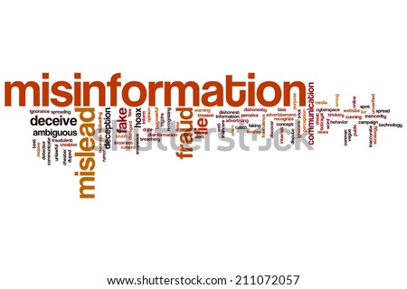 Misinformation concept word cloud background - stock photo