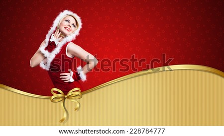 miss santa on a gift card - stock photo