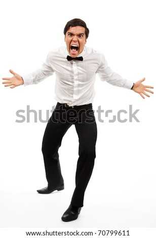 Missed deadline - roaring manager stand with wide parted hands in aggressive pose - stock photo