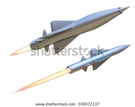 missile on a white background - stock photo