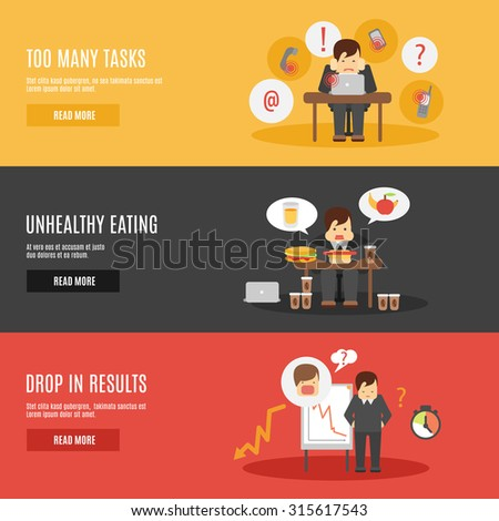 Missing deadline unhealthy eating man character multitasks work stress flat horizontal banners set abstract isolated  illustration - stock photo