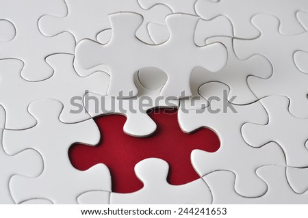 Missing Piece Puzzle, selective focus - stock photo