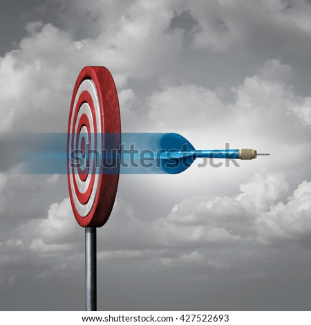 Missing the target concept as a dart way off the mark or bullseye as a metaphor for failure and failing to hit a goal with 3D illustration elements. - stock photo