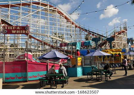 MISSION BAY, SAN DIEGO, CALIFORNIA - DEC 21: Belmont Park, a historic oceanfront amusement park, in the Mission Bay area of San Diego, California, as seen on Dec 21, 2013. It opened on July 4, 1925. - stock photo