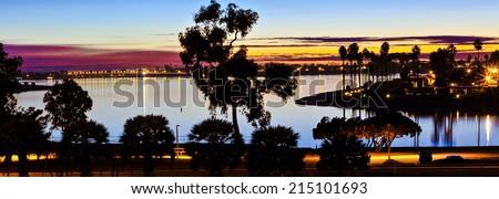 Mission Bay San Diego, California Sunset Panorama  - stock photo